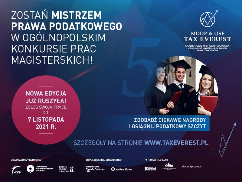 Zostań Mistrzem Prawa Podatkowego w ogólnopolskim konkursie prac magisterskich!